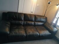 Black leather 3+2 sofas £250 for both