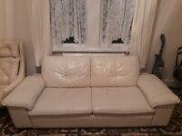 Cream leather sofa 3 seater x2