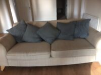 3 seater plus 2 seater with pouter in cream colour needs cleaning