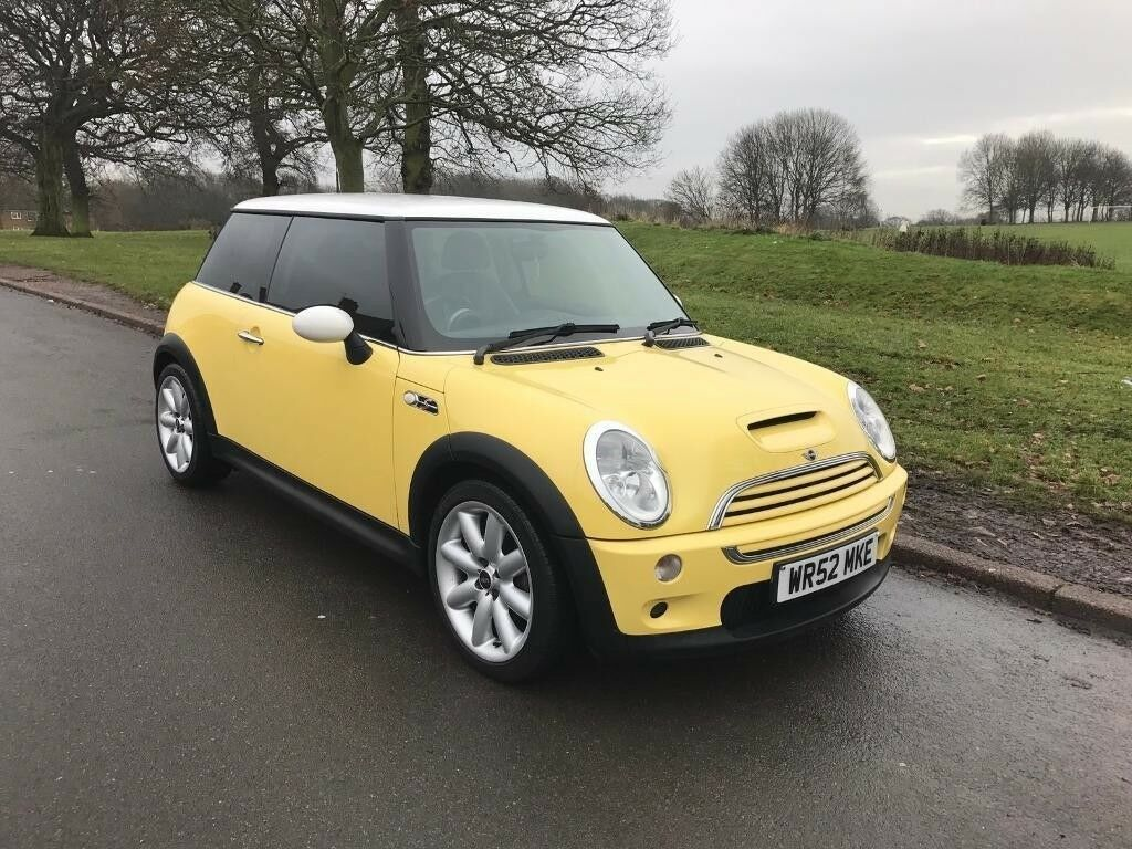 Mini Cooper S Supercharger In Bright Yellow With White Roof Leather Interior