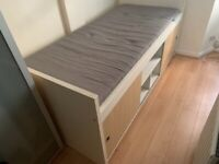 Single bed frame with shelves