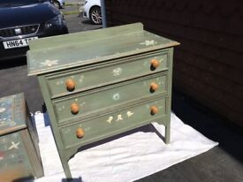 Dresser and Trunk - Hand Painted in shabby chic style
