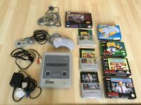 Super Nintendo console, 3 controllers and 3 games