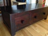 Mango Wood Coffee Table or TV Stand with storage.