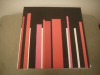 Square canvas pieces, red, pink, white and black colour. Size 35cm x 35cm, New and boxed.