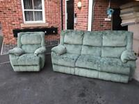 3 seater sofa and 1 rocking/ reclaiming chair