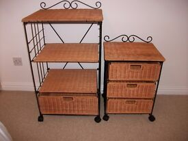 Rattan/wicker storage units with black frame .