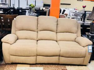 FLOOR MODEL CLARENCE SOFA RECLINER AT LOWEST PRICE UNBEATABLE.