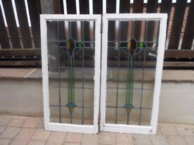 Two 1930's original stained glass windows in wood frames. Each 54cm x 112cm Excellent condition £80
