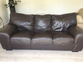 Three seater sofa in brown leather