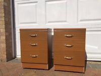 Pair of wooden bedside tables/chests with wheels