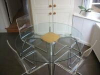 John Lewis Glass Round Table and 4 Clear Acrylic Chairs