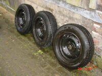 Three Peugeot 106 (Saxo?) 3-stud Wheels and Tyres - Excellent Tread
