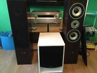 Yamaha amplifier, speakers, active subwoofer