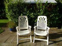 White sturdy reclining garden chairs
