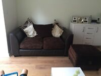 Three seater, two sofa and pouffe