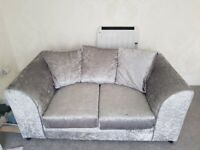 beautiful 2 seater and 3 seater setter in crushed velvet both are in excellent condition like new
