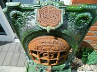 Authentic Antique FRENCH Gallia Ornate Green Enamelled Log Burner Stove imported from Paris 1900
