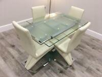 Nitro Extending Clear Glass Dining Table and 4 Cream Leather Z Dining Chairs