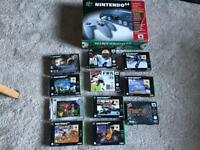 N64 Nintendo 64 Boxed Console & 10 Boxed games