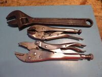 """12"""" Adjustable spanner and two mole grips"""