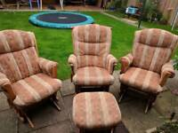 3 x Dutailer rocking chairs with matching footstool