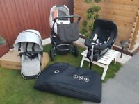 Britax Smile pushchair travel system with base and Bugaboo travel bag