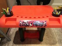 Disney Cars 2 Sit and Draw Creative Art Desk & Lighting McQueen Tri Scooter