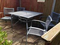 Garden table and chairs set metal with hole for parasol