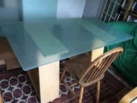 Ikea Glass top Trestle Table or Desk