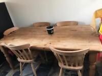 Wooden table and 6 chairs.