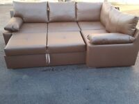 Superb Brand New brown leather corner sofa bed with storage. can deliver