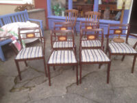 Great Set of 6 Vintage Retro ESA McIntosh Solid Mahogany Re-upholstered Regency Dining Chairs