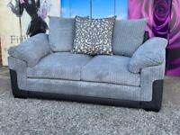 New Phoenix 2 Seater Sofa In Grey with Scatter Back Cushions In jumbo cord fabric