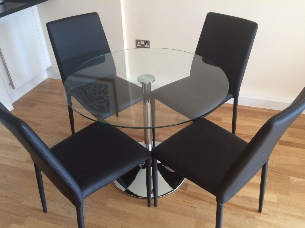 Round Glass Pedestal Dining Table Amp 4 Chairs In Angel London Gumtree