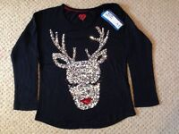 New with tags Marks and Spencer reindeer sequin top age 5-6