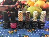 6 gel nail polishes for manicure including base and top coat