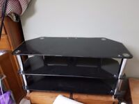 Large glass and.chrome tv dvd stand