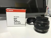 Canon EF 50mm F/1.4 USM Lens Excellent Condition + Lens Hood