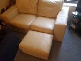 Cream Leather Sofa with Pouffe/Storage vgc £60 ono