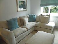 Cream, fabric, corner sofa and pouffie, 3 years old