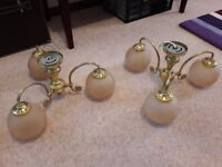 Brass effect triple glass globe ceiling lights (have an identical pair to sell - price is for pair)