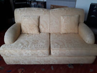 Yellow two seater sofa, free, collection only