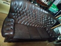 Brown Chesterfield sofa settee Shabby chic Deliv Poss Bargain