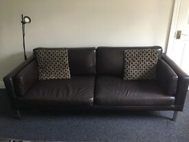 2 x Ikea 2.5 sater brown faux leather sofas