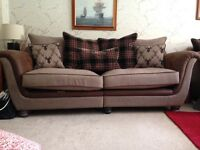 Two three seater sofas and large footstool for sale