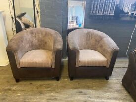 DESIGNER SET OF 2 CORD SUEDE FABRIC TUB CHAIR NICE SMART VERY COMFY FREE DELIVERY