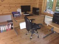 Two office desk and a lockable storage cupboard, plus over office equipment OPEN TO OFFERS