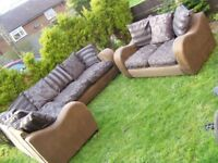 CAN DELIVER - CORNER SOFA + 2-SEATER SOFA IN GOOD CONDITION - COST £1600 3 YEARS AGO