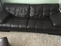 4 seater brown Italian sofa and storage seat